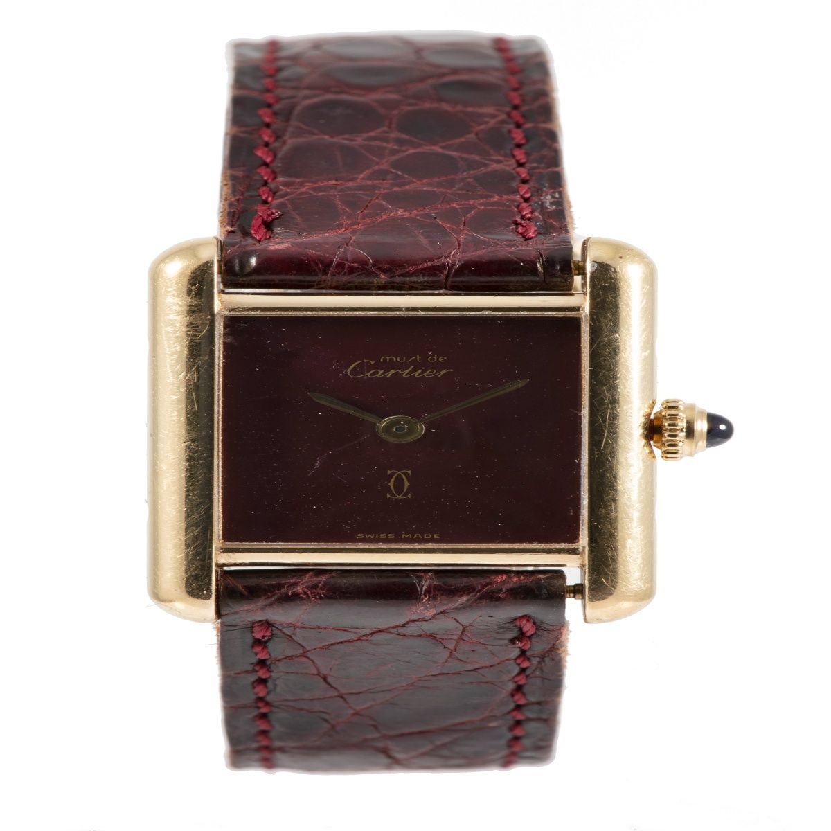 Cartier Must De 366001 Gold Plated Silver & Burgundy 20.5mm Ladies Watch