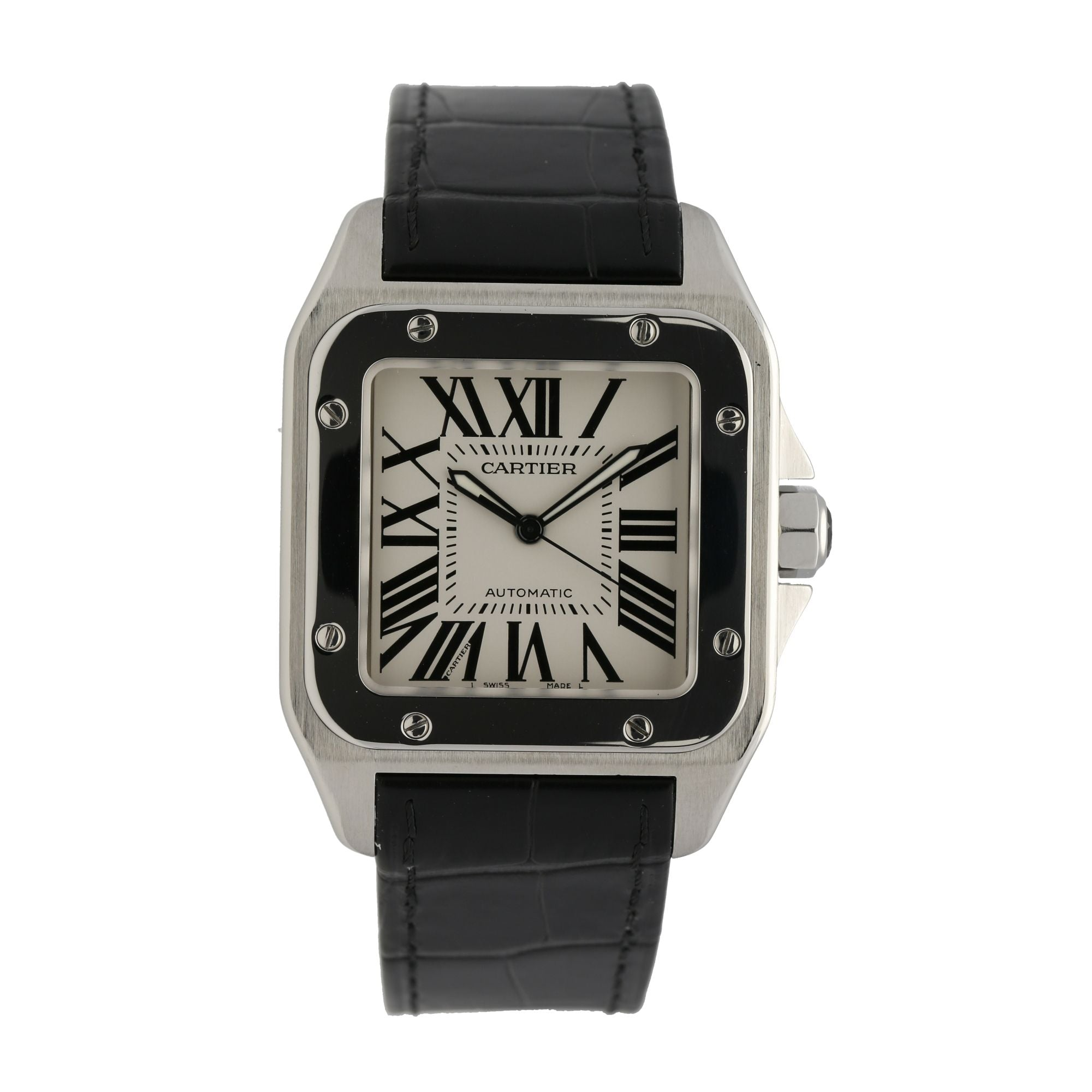 Cartier Santos 100 2656 Stainless Steel & White 38mm Mens Watch