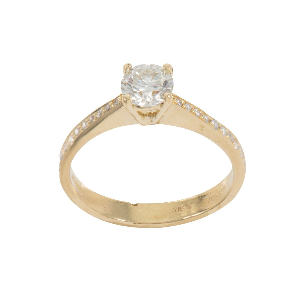 18ct Yellow Gold 0.55ct Round Brilliant Cut Diamond Solitaire Ring with Accent Stones Ladies Size M