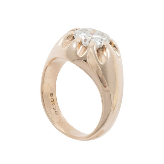9ct Yellow Gold 1.8ct Diamond Solitaire Ladies Signet Ring Size N