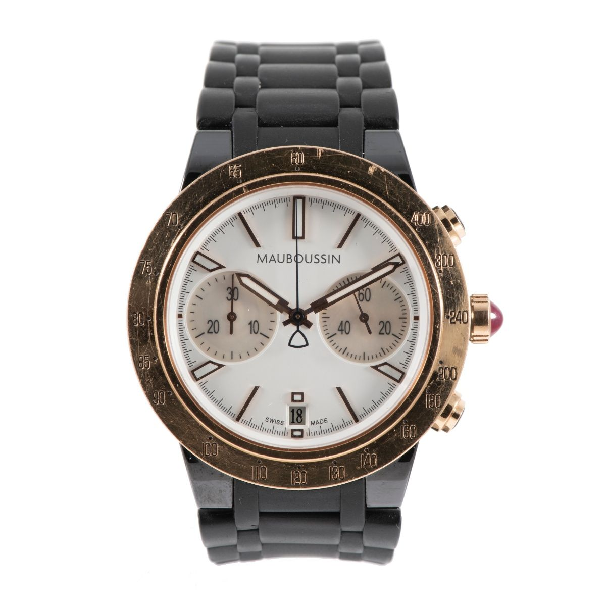 Mauboussin Life For Ever Chronograph 18ct Gold & Cream/Mother Of Pearl 42mm Mens Watch