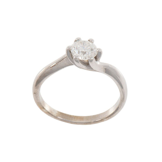9ct White Gold 0.80ct Diamond Solitaire Ladies Ring Size P