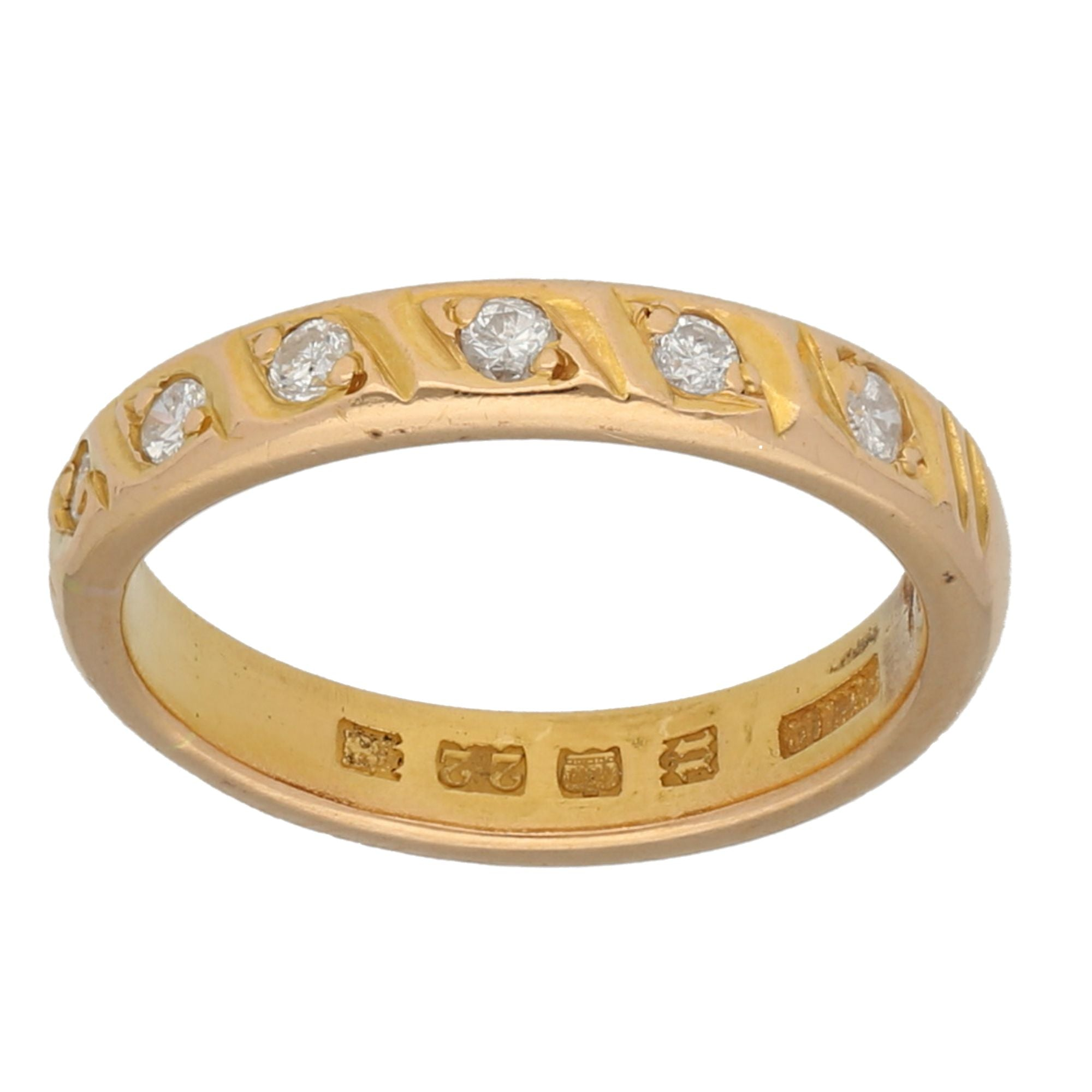 22ct Yellow Gold Stone Set Ladies Half Eternity Ring Size N