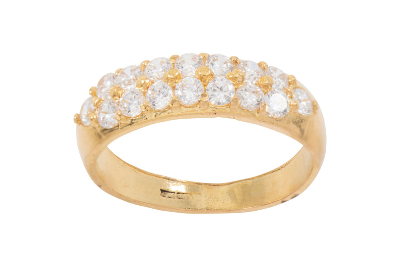 22ct Yellow Gold Ladies Cubic Zirconia Cluster Ring Size L