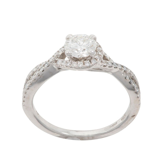 14ct White Gold 1.10ct Round Brilliant Cut Diamond Cluster Ring Ladies Size M
