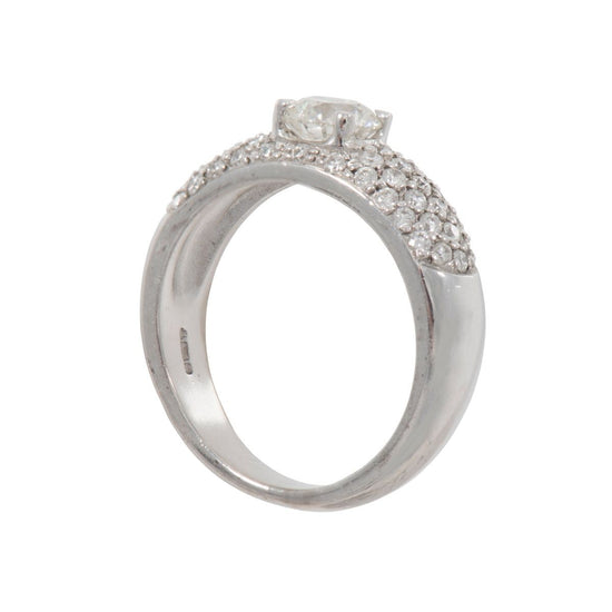 18ct White Gold 0.77ct Diamond Cluster Ring Size N Ladies