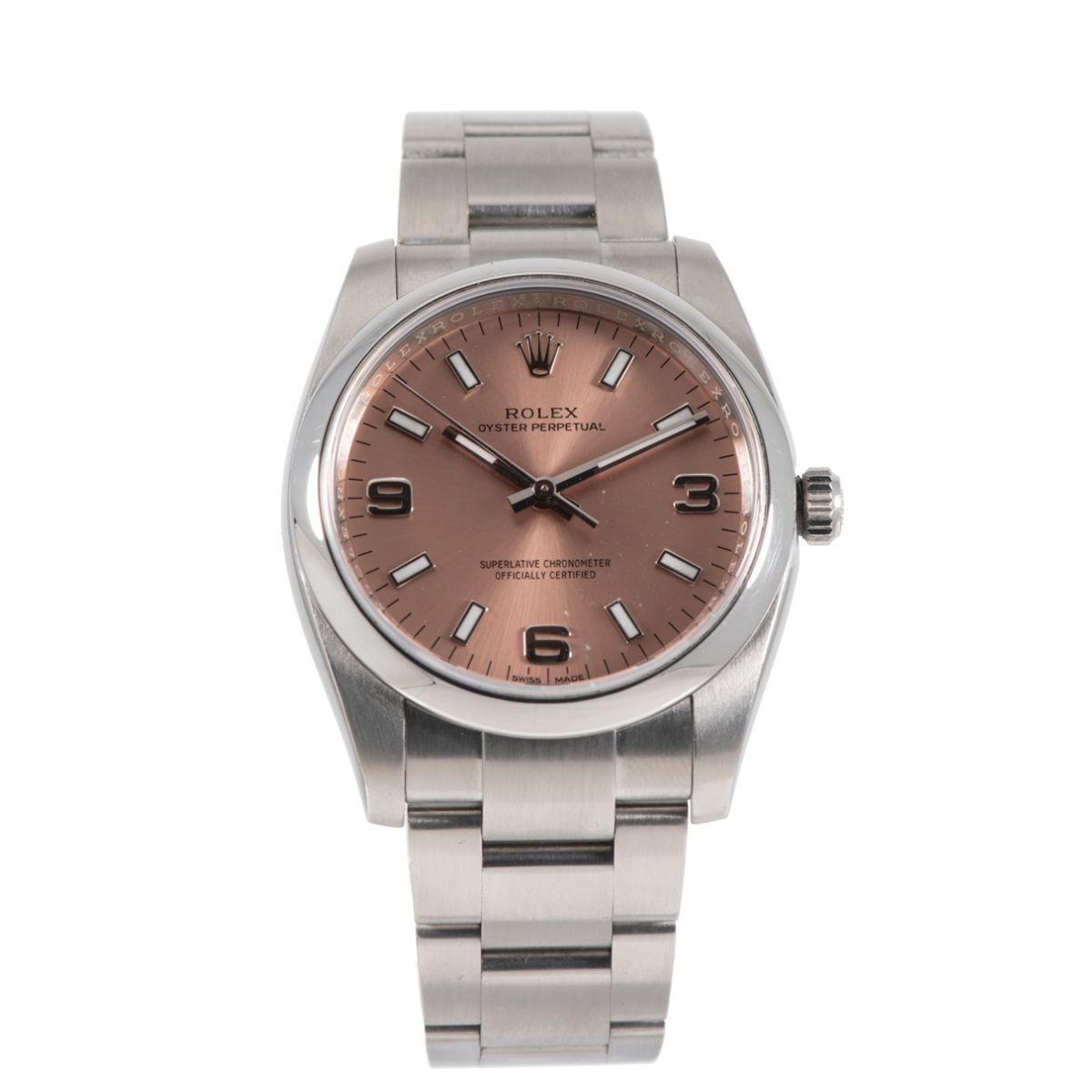 Rolex Oyster Perpetual 114200 Steel & Salmon 34mm Unisex Watch