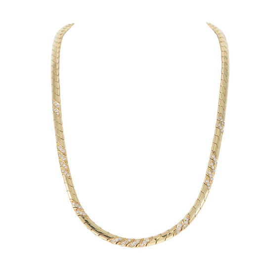 18ct Yellow Gold & Diamond Fancy Ladies Chain 14 Inches