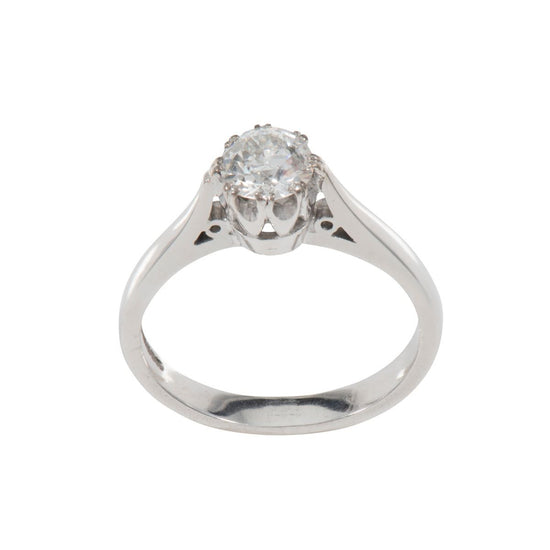 18ct White Gold 0.42ct Round Brilliant Cut Diamond Solitaire Ring Ladies Size L