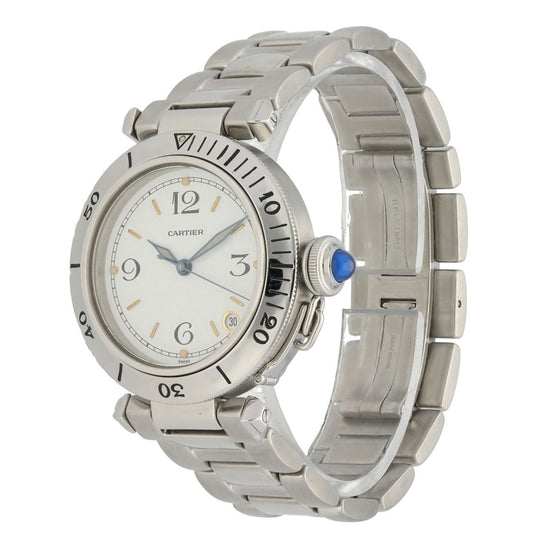 Cartier Pasha Stainless Steel & Cream 36mm Mens Watch