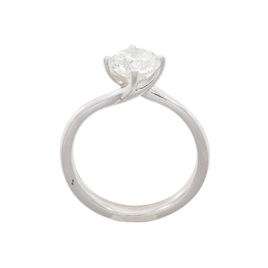 Platinum 1.00ct Diamond Solitaire Ladies Ring Size K