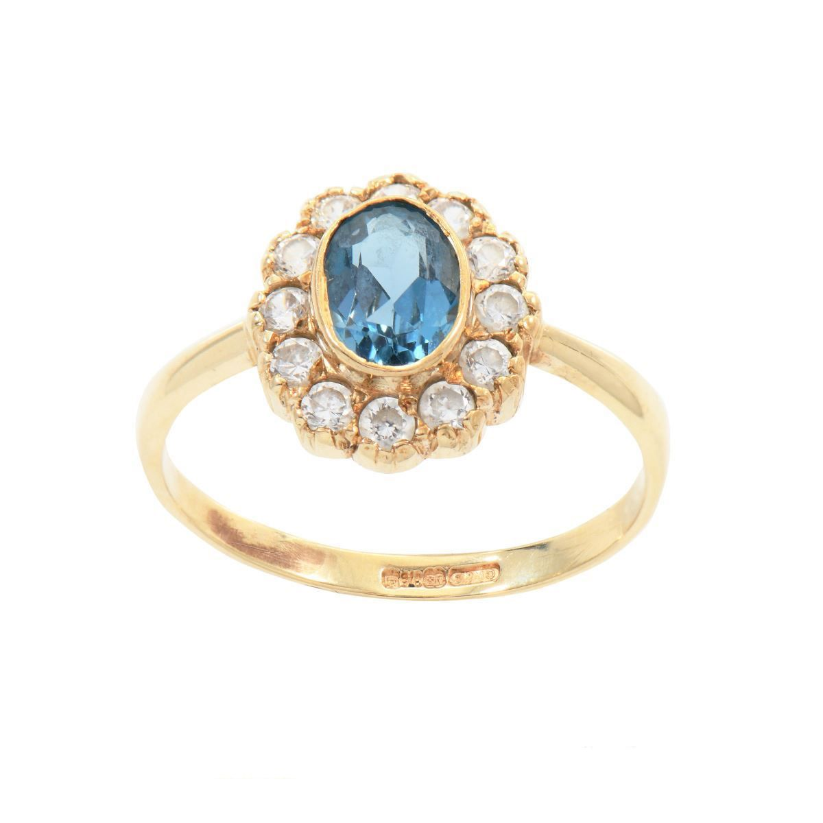 9ct Yellow Gold Cubic Zirconia & Topaz Ladies Cluster Ring Size O