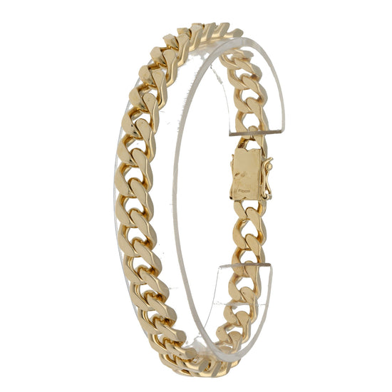 9ct Yellow Gold Mens Curb Bracelet 23cm