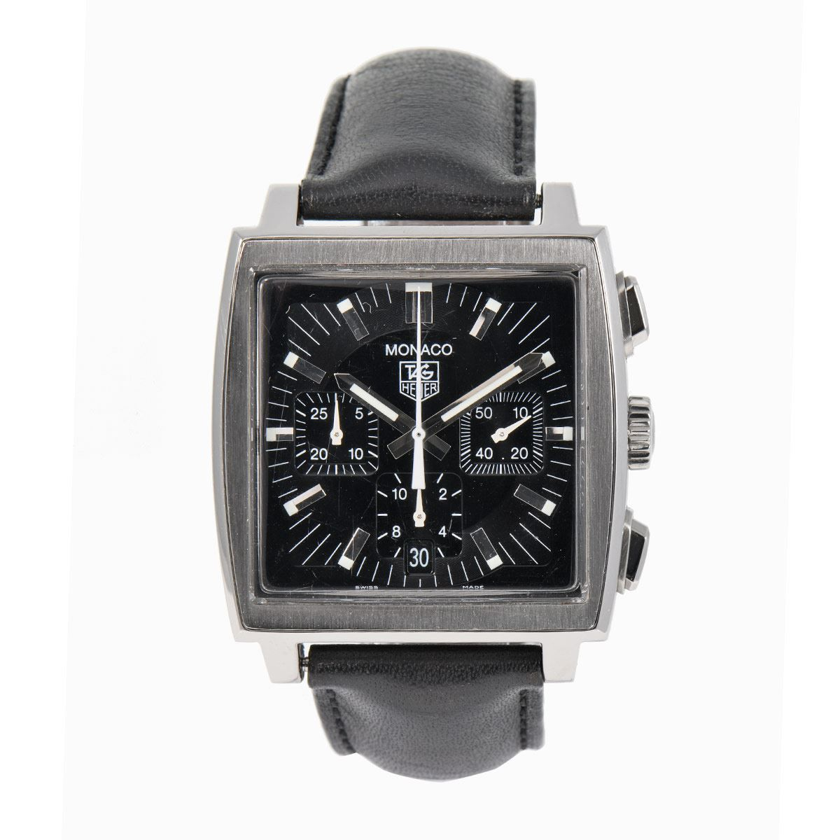 Tag Heuer Monaco CW2111 Black & Leather 38mm Mens Watch