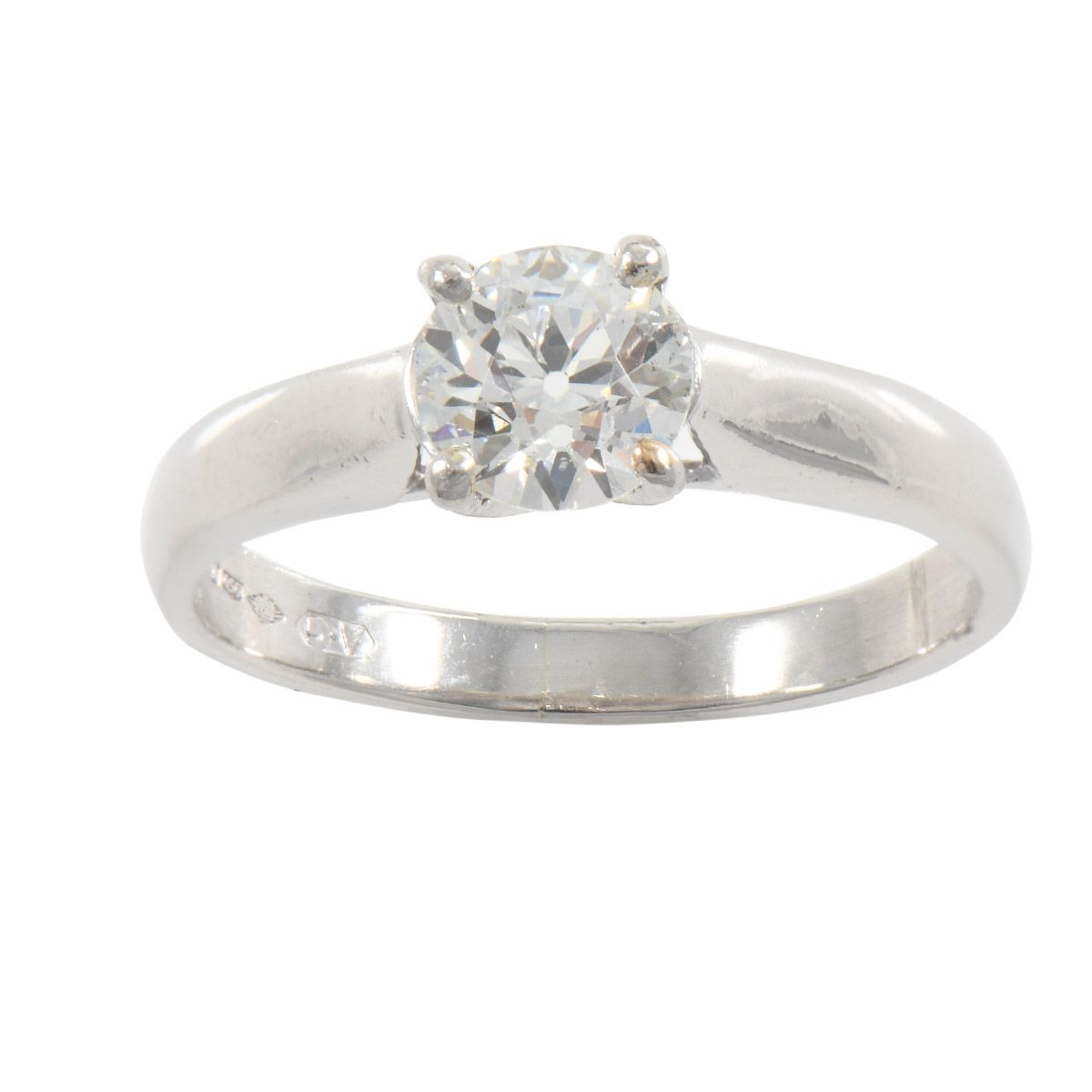 Platinum 0.92ct Diamond Solitaire Ladies Ring Size N