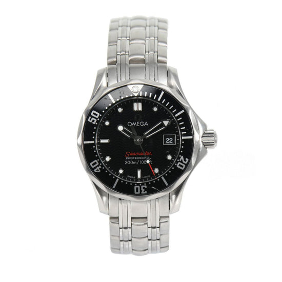 Omega Seamaster Quartz Stainless Steel Black 30mm Dial Ladies Watch