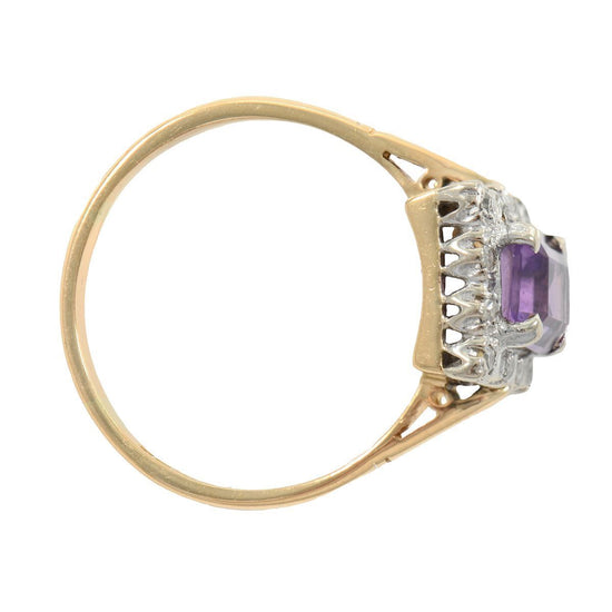 18ct Yellow Gold Amethyst & Diamond Cluster Ring Ladies Size T