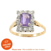Load image into Gallery viewer, 18ct Yellow Gold Amethyst & Diamond Cluster Ring Ladies Size T