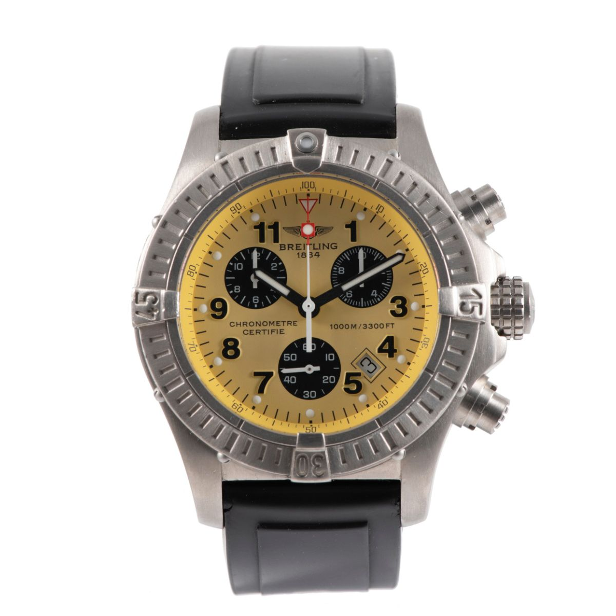 Breitling Chrono Avenger E73360 Titanium & Yellow 44mm Mens Watch