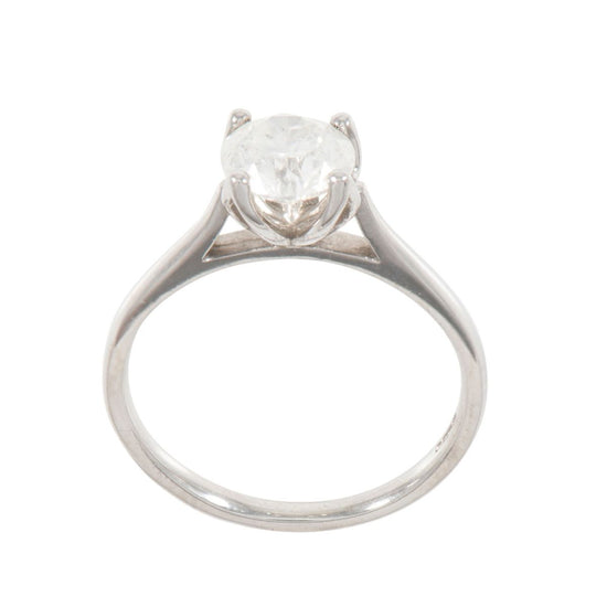 Platinum 0.95ct Round Brilliant Cut Diamond Solitaire Ring Ladies Size L