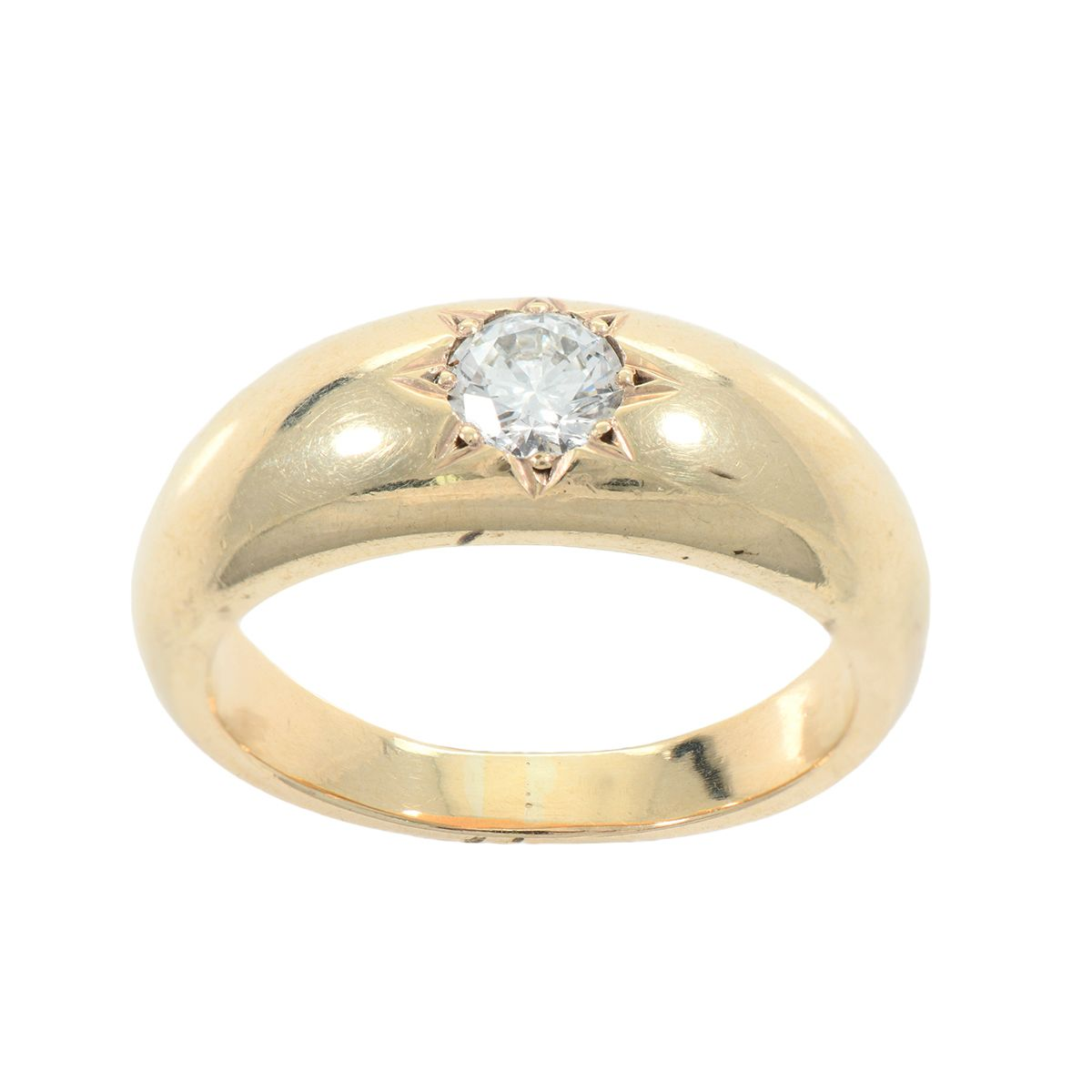 9ct Yellow Gold Gents Round 0.55ct Diamond Patterned Signet Ring Size V