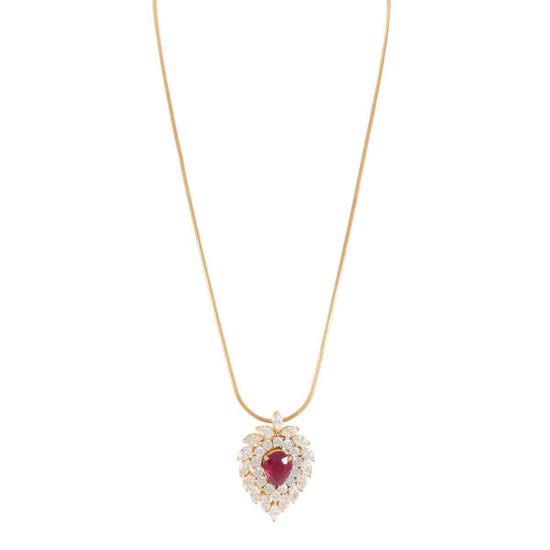 18ct Yellow Gold 3.38ct Diamond & Glass Filled Ruby Cluster Pendant Ladies 18 Inches