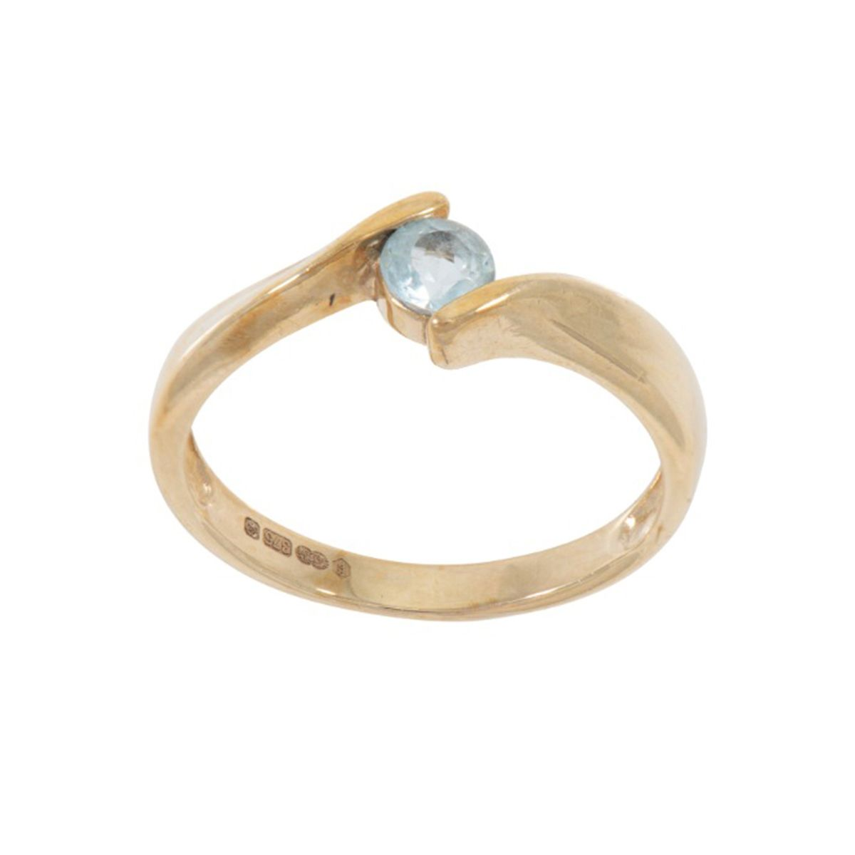 9ct Yellow Gold Blue Topaz Solitaire Ladies Ring Size M