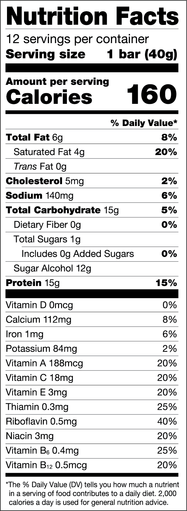Chocolate Brownie — FULFIL Nutrition Vitamin & Protein Bar Nutrition Facts