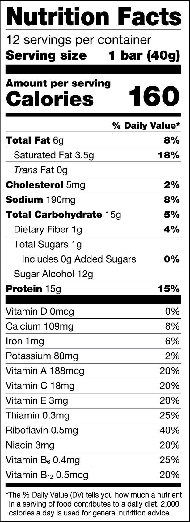 Chocolate Peanut Butter — FULFIL Nutrition Vitamin & Protein Bar Nutrition Facts