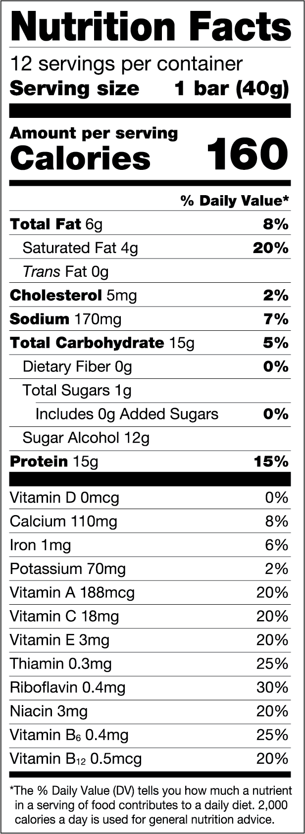 Chocolate Salted Caramel — FULFIL Nutrition Vitamin & Protein Bar Nutrition Facts