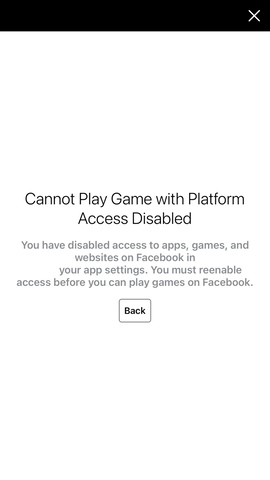 Cannot Play Game with Platform Access Disabled