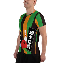 "Load image into Gallery viewer, All-Over Print Men's Athletic T-shirt ""Senjafuda on Joushikimaku"" - SUPER BOWLING STORE"