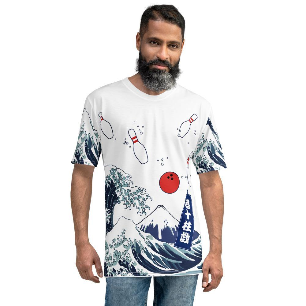 All-Over Print Men's Crew Neck T-Shirt - The Great Bowling Wave - - SUPER BOWLING STORE