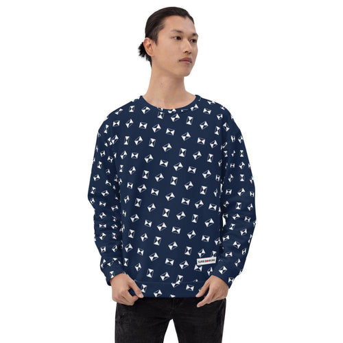 Unisex Sweatshirt - Strike symbol scattered over Indigo <Japan Blue> - - SUPER BOWLING STORE