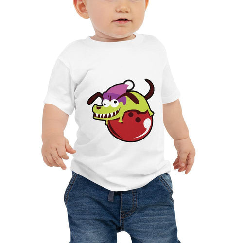 Baby Jersey Short Sleeve Tee - Skaty Dog on Bowling Ball - - SUPER BOWLING STORE