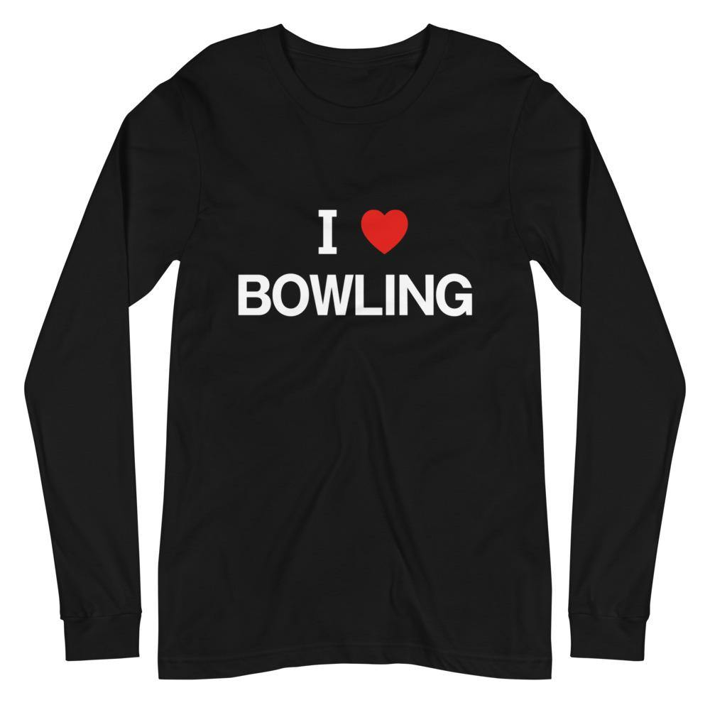 I LOVE BOWLING Unisex Long Sleeve Tee Dark Color - SUPER BOWLING STORE