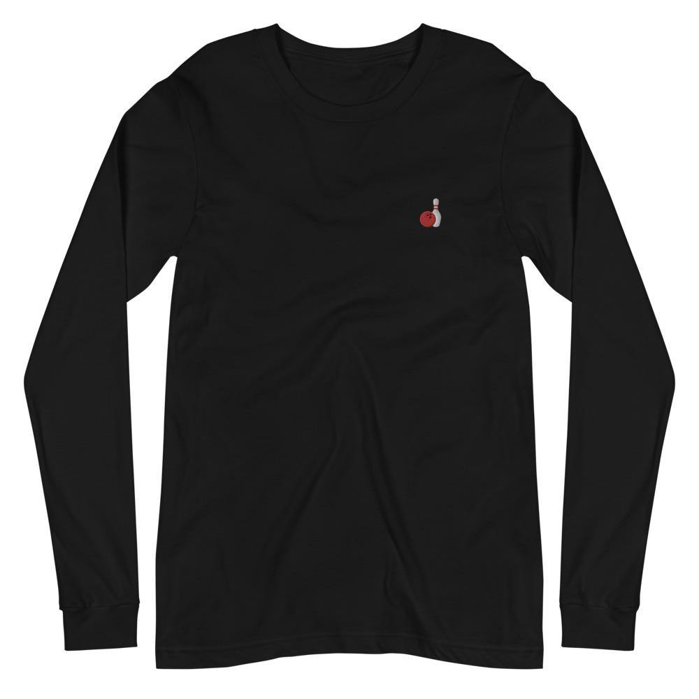 Bowling Ball & Pin Embroidered Unisex Long Sleeve Tee - SUPER BOWLING STORE