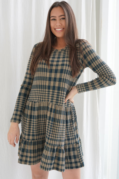 Brienne Dress - Blue Checked