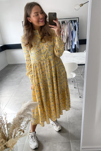 Polly LS Midi Dress - Warm Sand Flowers