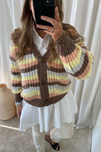 LYA-V.CA Knit Cardigan - Brown/Stripe