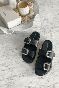 Nomi Leather Sandal - Black