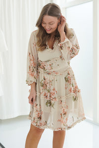 Neel Dress - Cream Printet