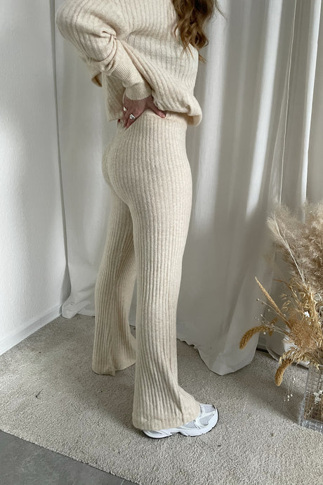 Ally L/S Knit Pants - Off White Melange