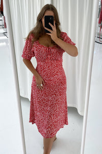 Lula Dress Long - Red/White