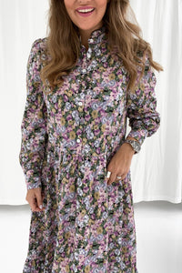 Long Thea Dress - Purple Mix Print