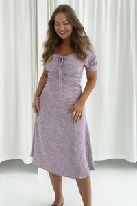Lula Dress Long - Purple Printed Flower