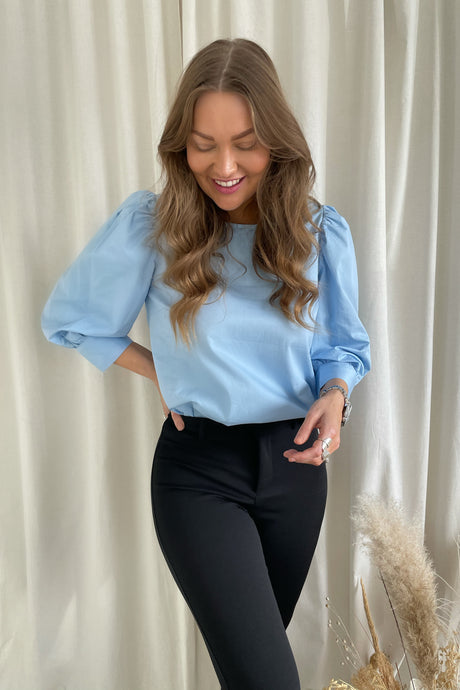 Donna 3/4 Puff Sleeves - Cashmere Blue