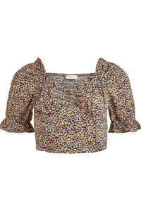 Sona Sweetheart Crop Top - Yellow/Pink Flower