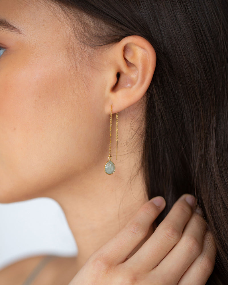 Gem Drop Threader Earrings Pre-Order