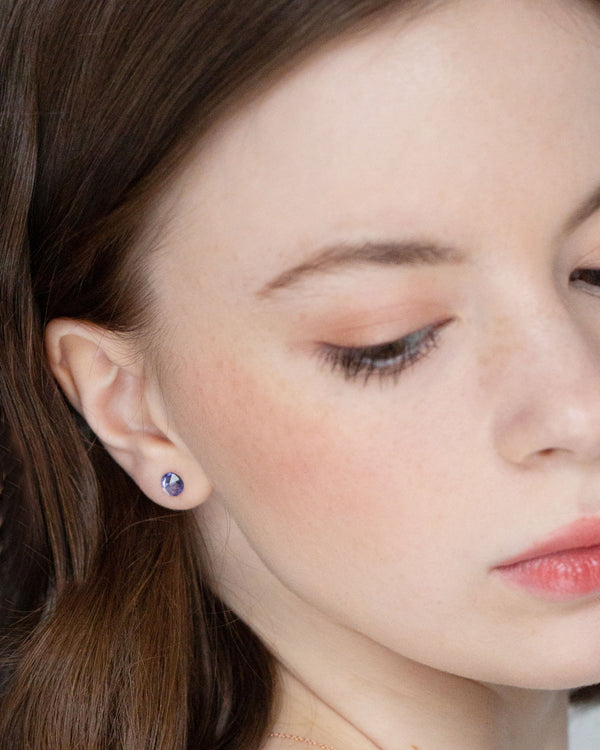 model wearing tanzanite swarovski crystal bridesmaid earrings